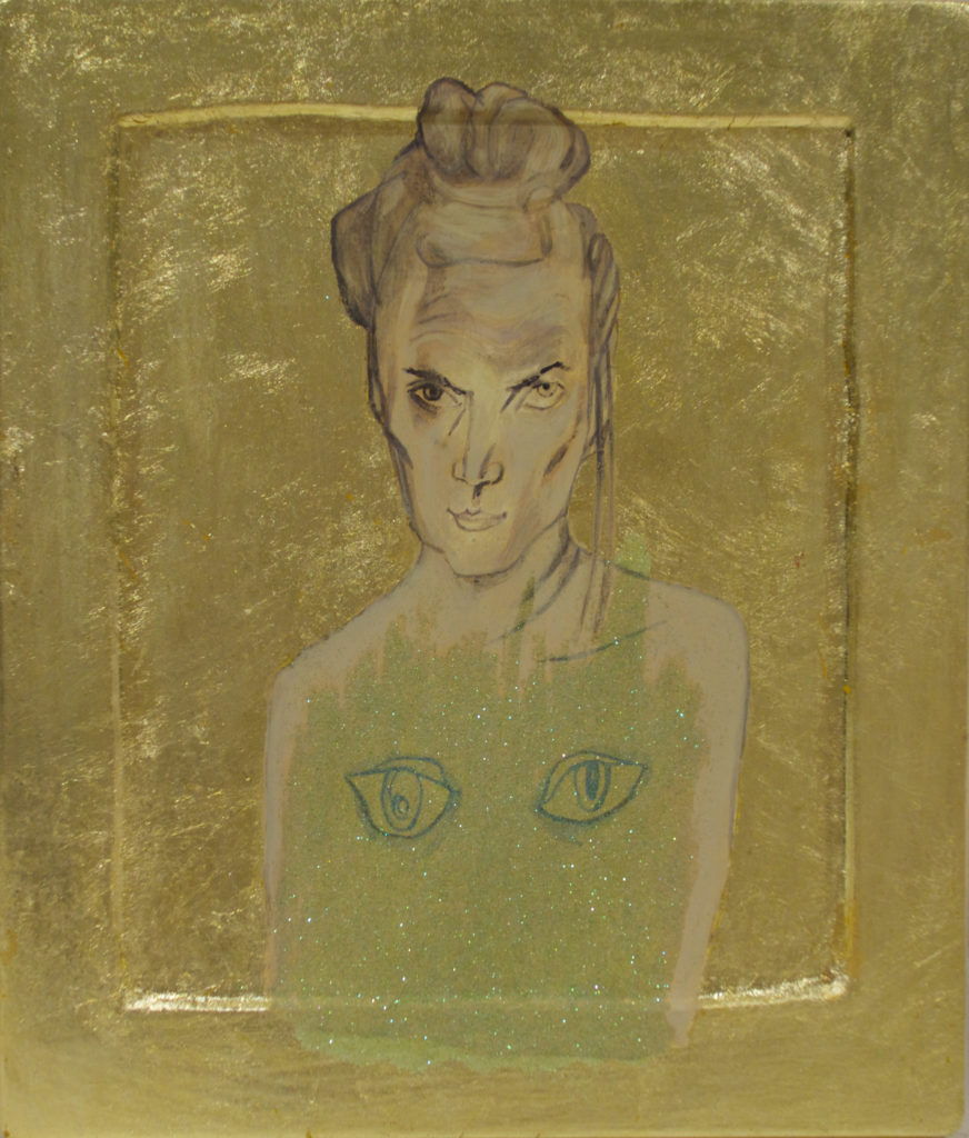 Selfportrait /2016 Eggempera goldleaf on wood 2016 24,5 x 39 cm