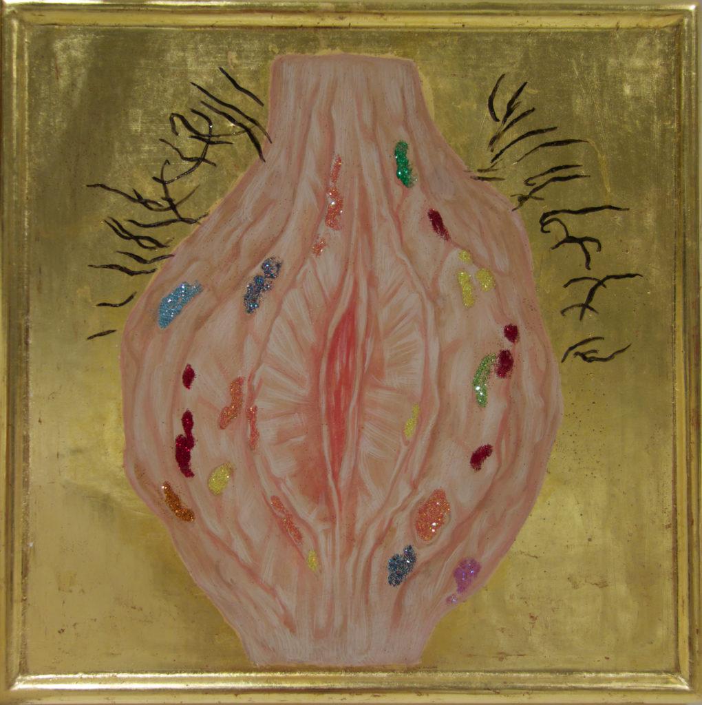Vulva / 2016 Eggtempera goldleaf 26.5 x 26,5 cm