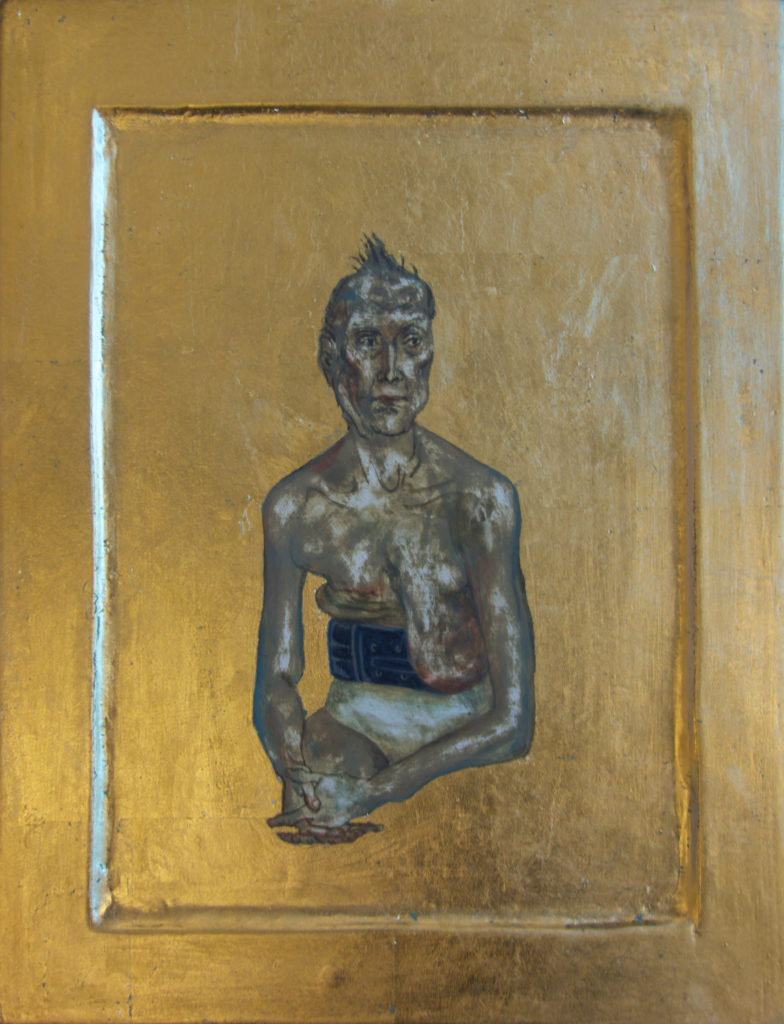 Kona / Woman I 2016 Eggtempera goldleaf on wood 31,5 x 24,2 cm