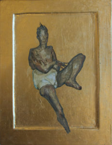 Kona II / Woman II 2016 Egg tempera goldleaf on wood 31,5 x 24,2 cm.