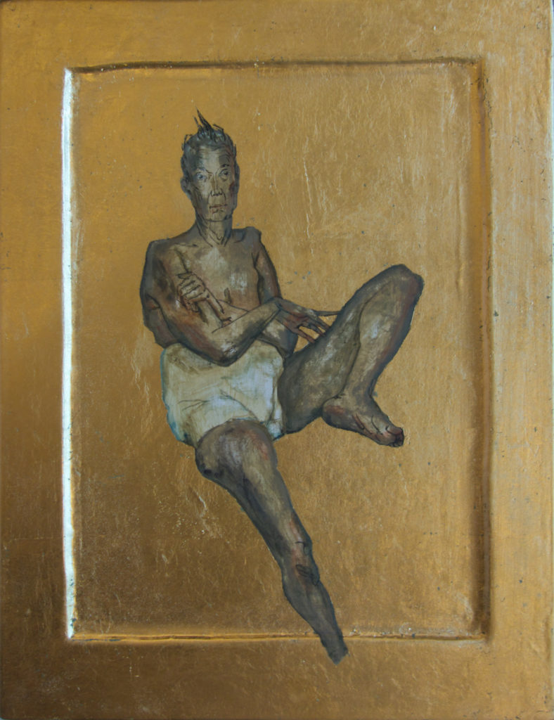 Kona II / Woman II 2016 Eggtempera goldleaf on wood 31,5 x 24,2 cm.