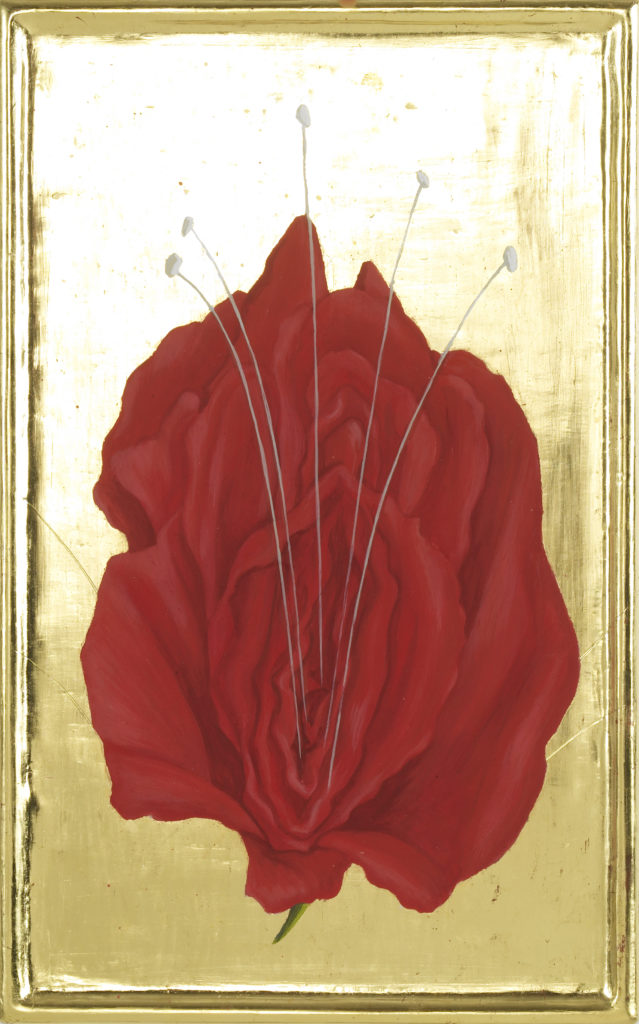 Red Rose 2010 / eggtempera goldleaf on wood 20 x 32 cm