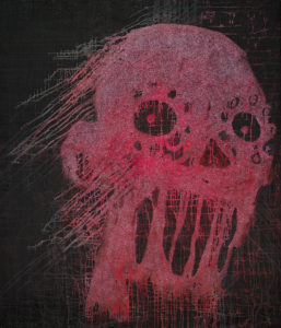 Pink Skull, 2017, 180 x 210 cm, oil,glitter on canvas