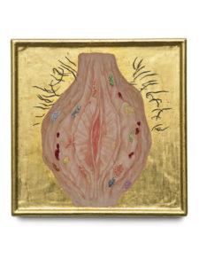 Vulva 2016, egg tempera, gold leaf on wood, 27x27 cm