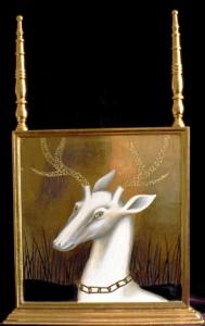 White deer, eggtempera goldleaf on wood, 2006