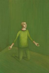 Græna herbergið/ The green room, 2002, eggtempera on wood, 30x40cm