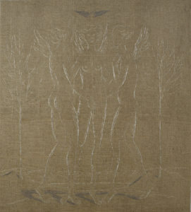 Three virtues  2011, gold thread on canvas 200 x 180 cm.