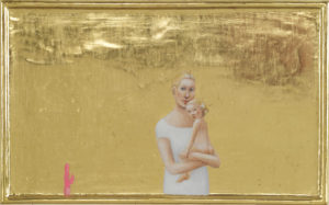 Mother with child and vibrator, 2010, egg tempera and goldleaf on wood, 20 x 32 cm.
