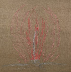 Silver Fountain, wool and silver thread on canvas, 180 x 180 cm.