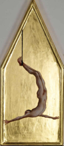 Hanging Man, 2010, egg tempera and gold on wood, 19 x 44 cm.